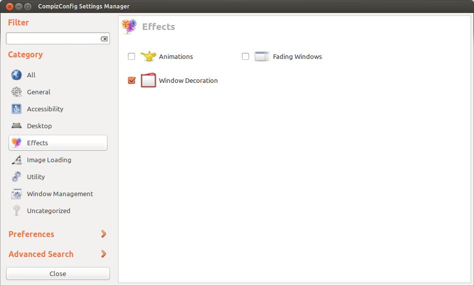 CompizConfig Settings Manager vizuális effektek